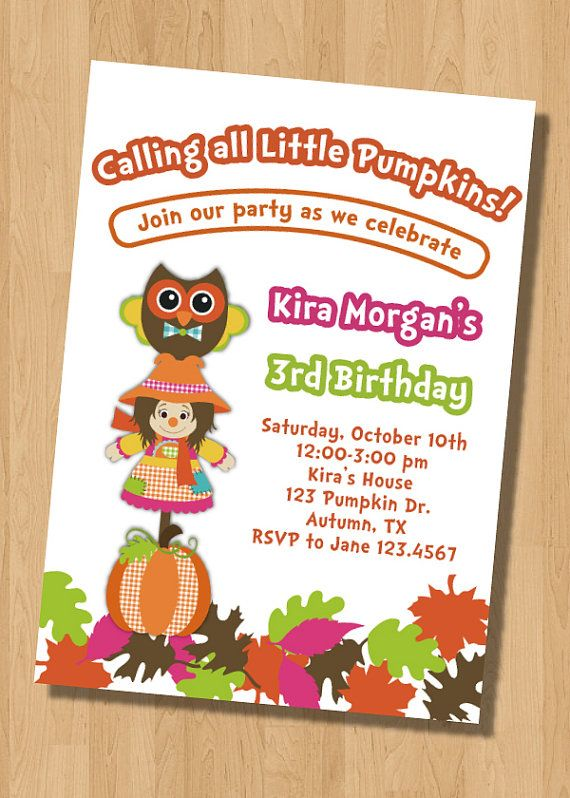 Fall Festival Halloween Pumpkins Birthday Party Invitation Digital Printable Or Printed Any Wording Age Colors