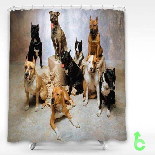 Dog Pitbull Dogs Shower Curtain Pitbull Dog Dog Shower Cheap Dogs