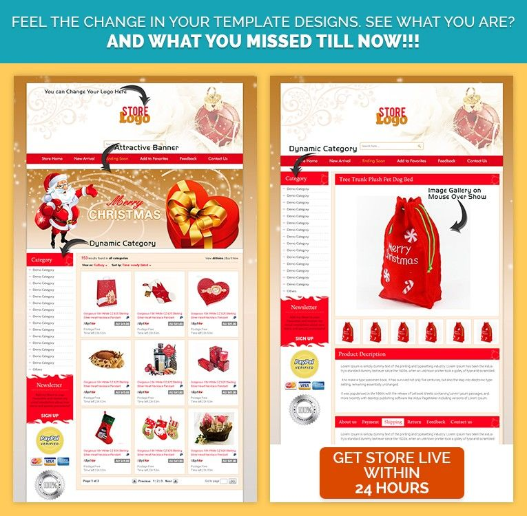 Christmas Theme Custom Ebay Auction Listing Template Sell Unique