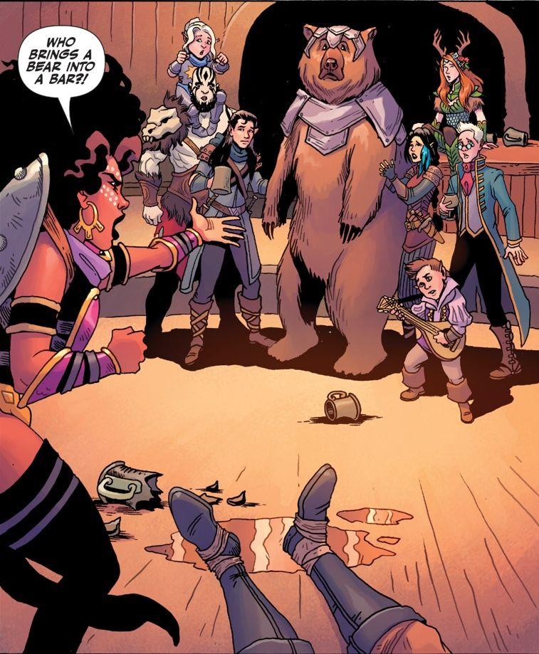 A group of mythic characters, including a bear clad in armor, stand together. A woman is yelling 'Who brings a bear into a bar?!'
