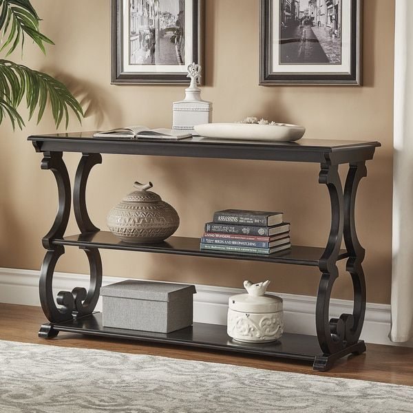 Lorraine Wood Scroll Tv Stand Sofa Table By Inspire Q Classic Entryway Console Table Console Table Wood Console Table
