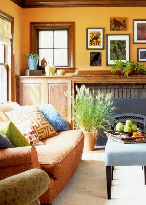 Nice And Bright Paint Colors W Dark Trim Pinterest Orange Living Rooms Living Rooms And