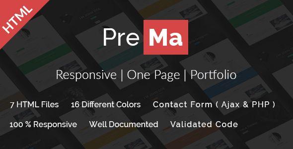 Prema - Personal Portfolio HTML One Page Template | Personal ...