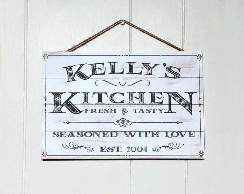 Personalized Kitchen Sign Rustic Kitchen Decor Custom