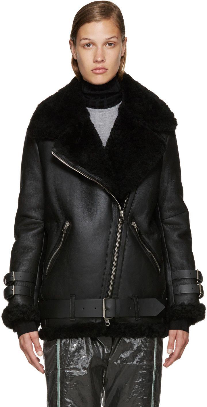 Acne Studios - Black Shearling Velocite Jacket Veste Mouton, Fourrure Femme,  Tenue, Veste b54a00d267c