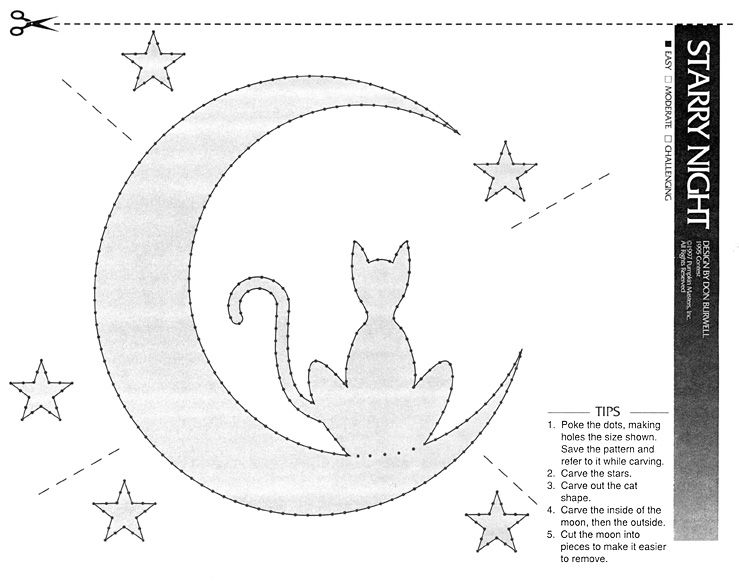 Cat moon halloween pattern at http www for Cat pumpkin carving patterns