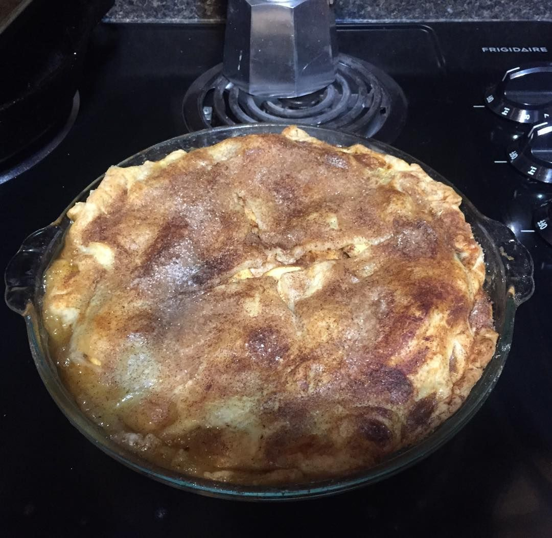 Hubs made pie with apples from the tree in our new backyard. #pie #happylongweekend #yummy