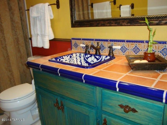 Eclectic Full Bathroom With Mexican Tile Backsplash Spanish Tile Curtain Showerdoor Standard Height