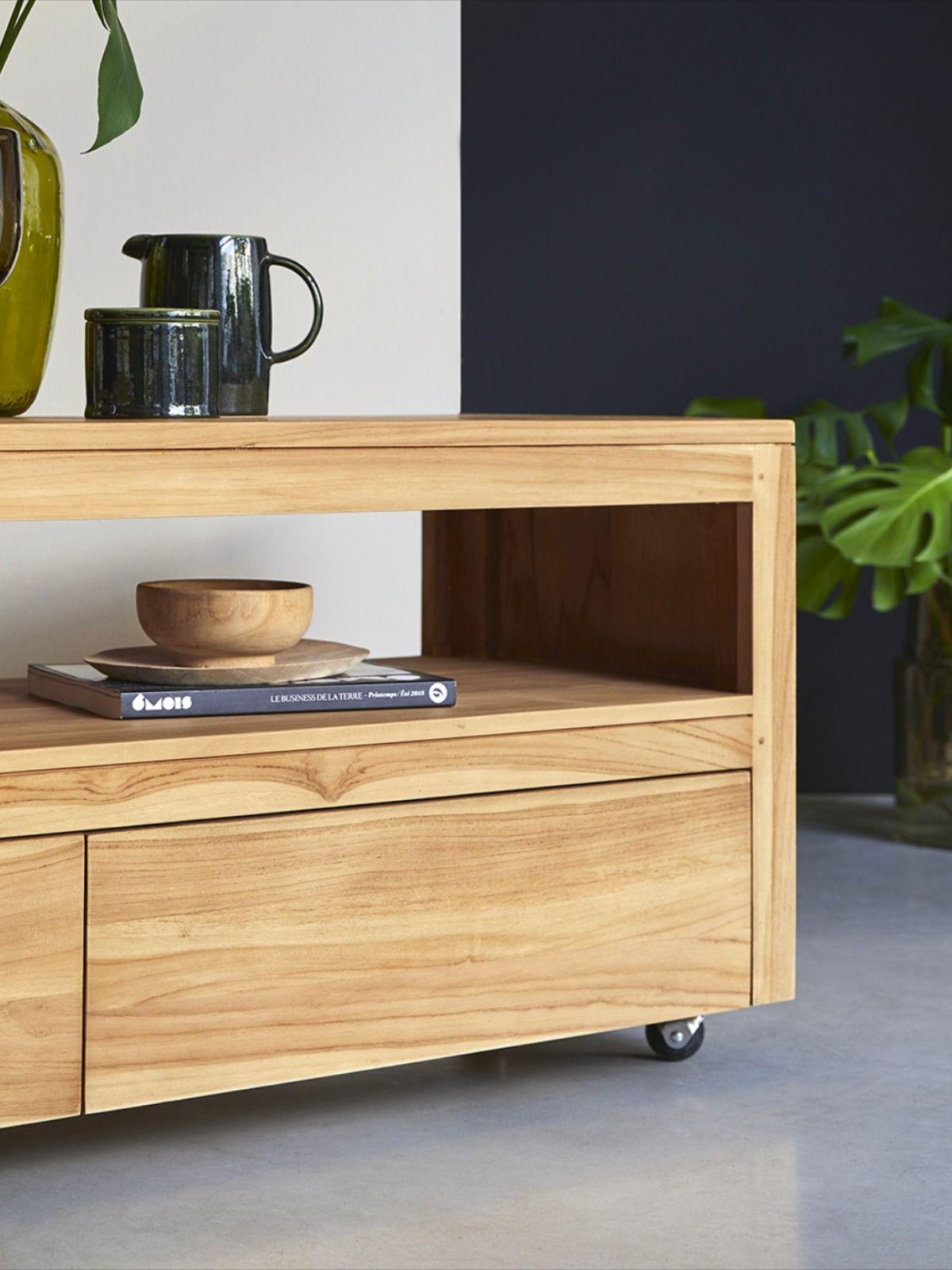 meuble tele en teck 140 cm mobilier