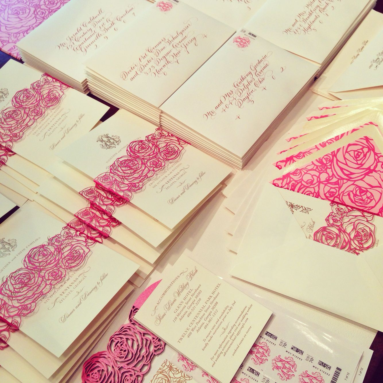 Rose gold foil and calligraphy wedding invitations with custom ...