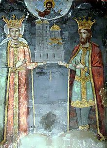 Radu I of Wallachia. Son of Nicolae Alexandru and Lady Maria. Husband to Ana Calinica. Mural in Curtea de Arges Cathedral. House of Basarab