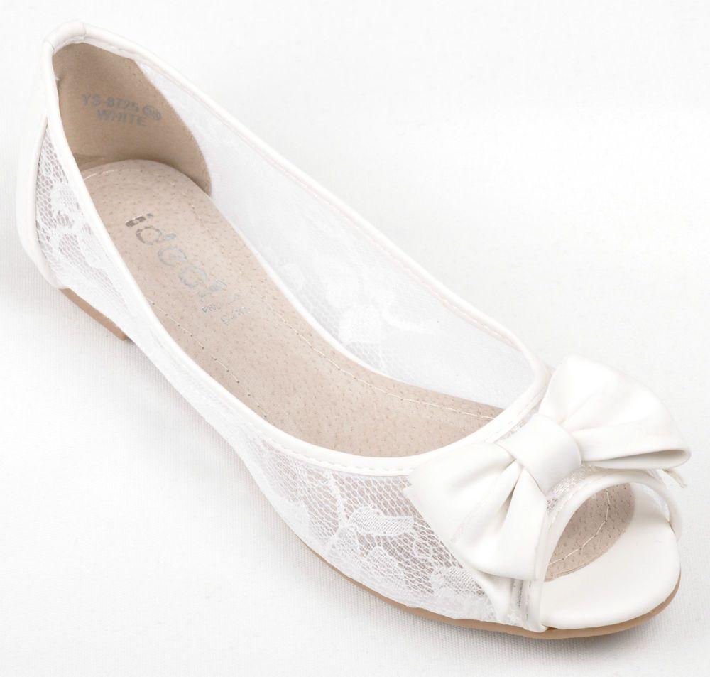 Bridal Flat Pumps Off White Lace Wedding Peep Toe