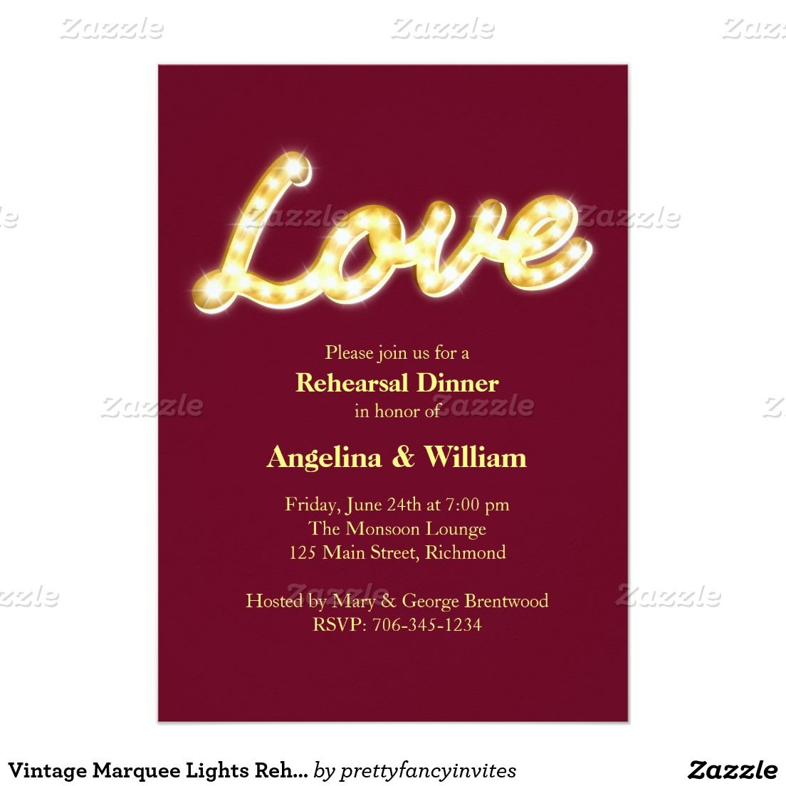 Marquee Lights Rehearsal Dinner Invite | Marquee lights, Rehearsal ...