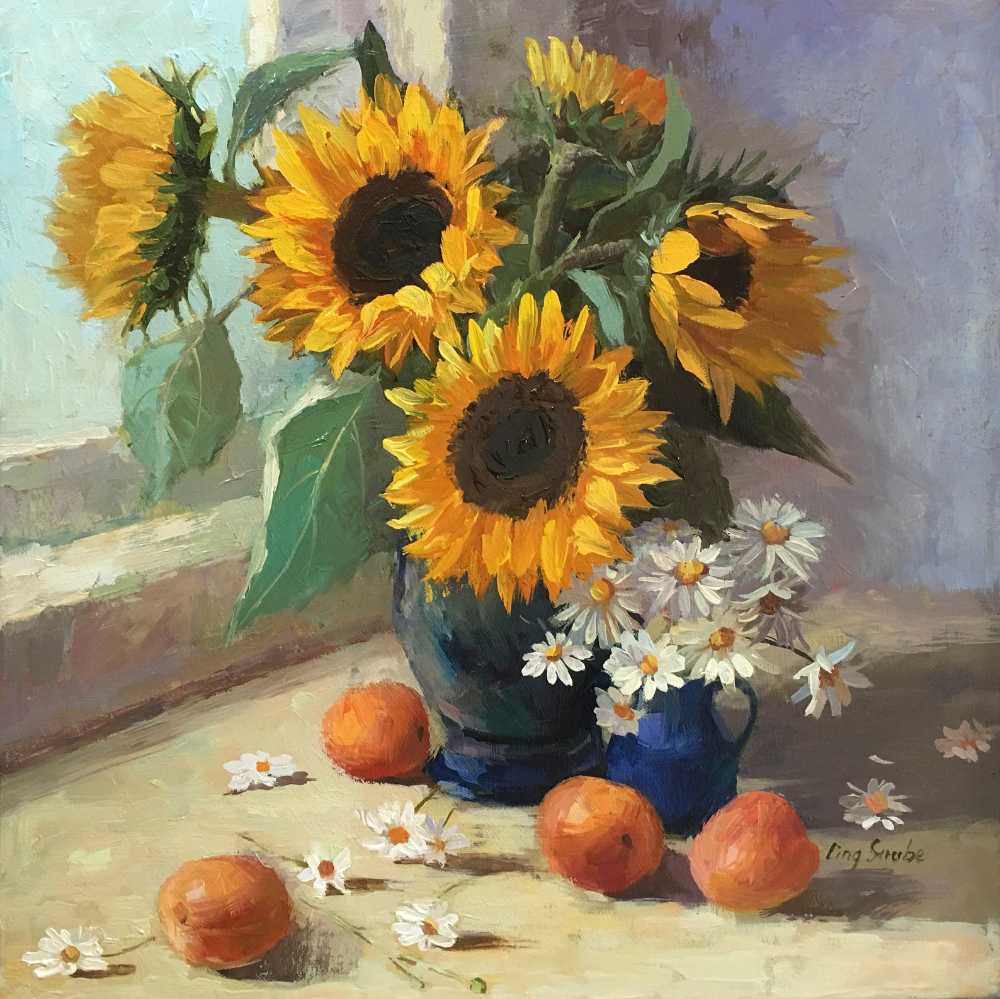 Still Life With Sunflowers Original Oil Painting Flower In Vase Art Sunflower In Canvas Painting Sunflower Painting Flowers In Vase Painting