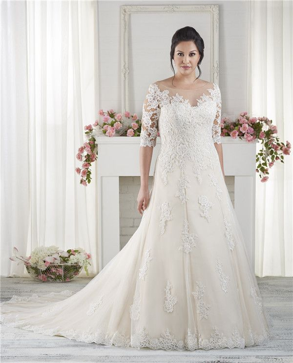 682aface7d0 Off the Shoulder Lace  1618 - The Most Amazing Wedding Dresses for Brides  with Big Belly - EverAfterGuide