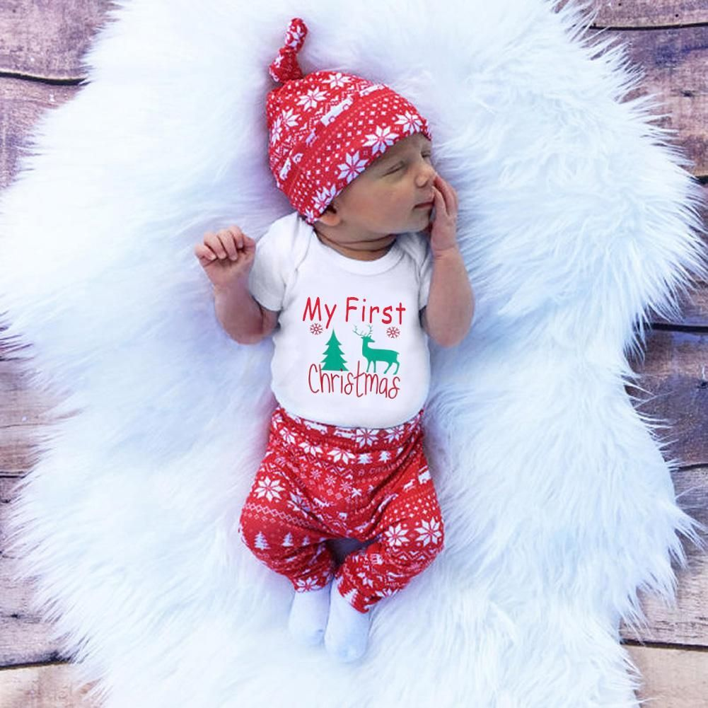 65abdcae 2018 3pcs/set Cute Newborn Clothing Set Baby Boy Girls First Christmas  Clothes Infant Romper Pants Hat Outfit