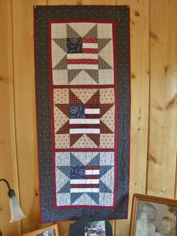Make This 43 1 2 X 19 1 2 Patriotic Americana Wall Hanging 12 Inch Flag Blocks 1 2 Inch Inner Border 3 Inc Patriotic Quilts Quilt Of Valor Quilt Patterns