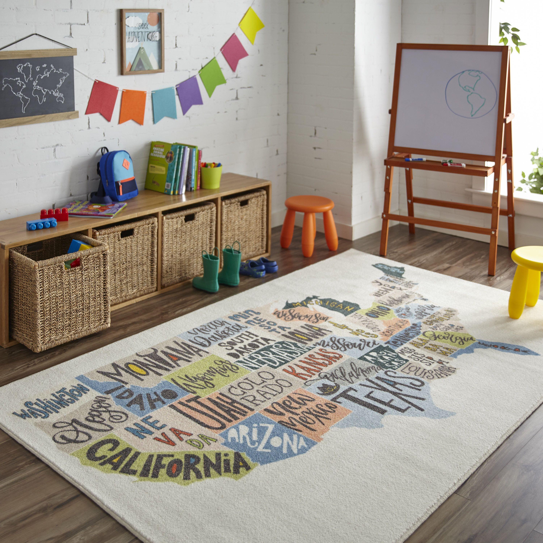 Engler States Map Beige Blue Area Rug Kids Playroom Decor Kid Room Decor Playroom Decor