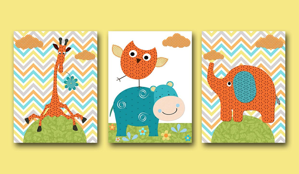 Orange and Green Elephant Nursery Giraffe Nursery Baby Room Decor ...
