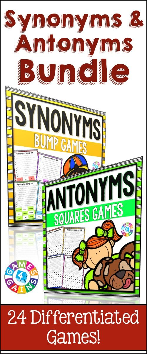 photograph relating to Synonyms and Antonyms Printable Games referred to as Synonyms and Antonyms Pursuits Package: 24 Synonyms and