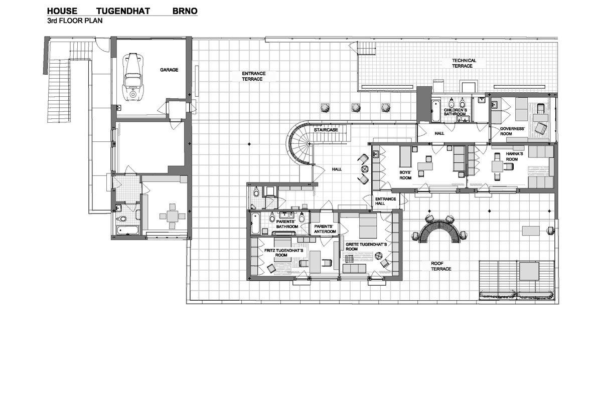 Mies van der Rohe; Villa Tugendhat, 3rd floor plan, Czech ...