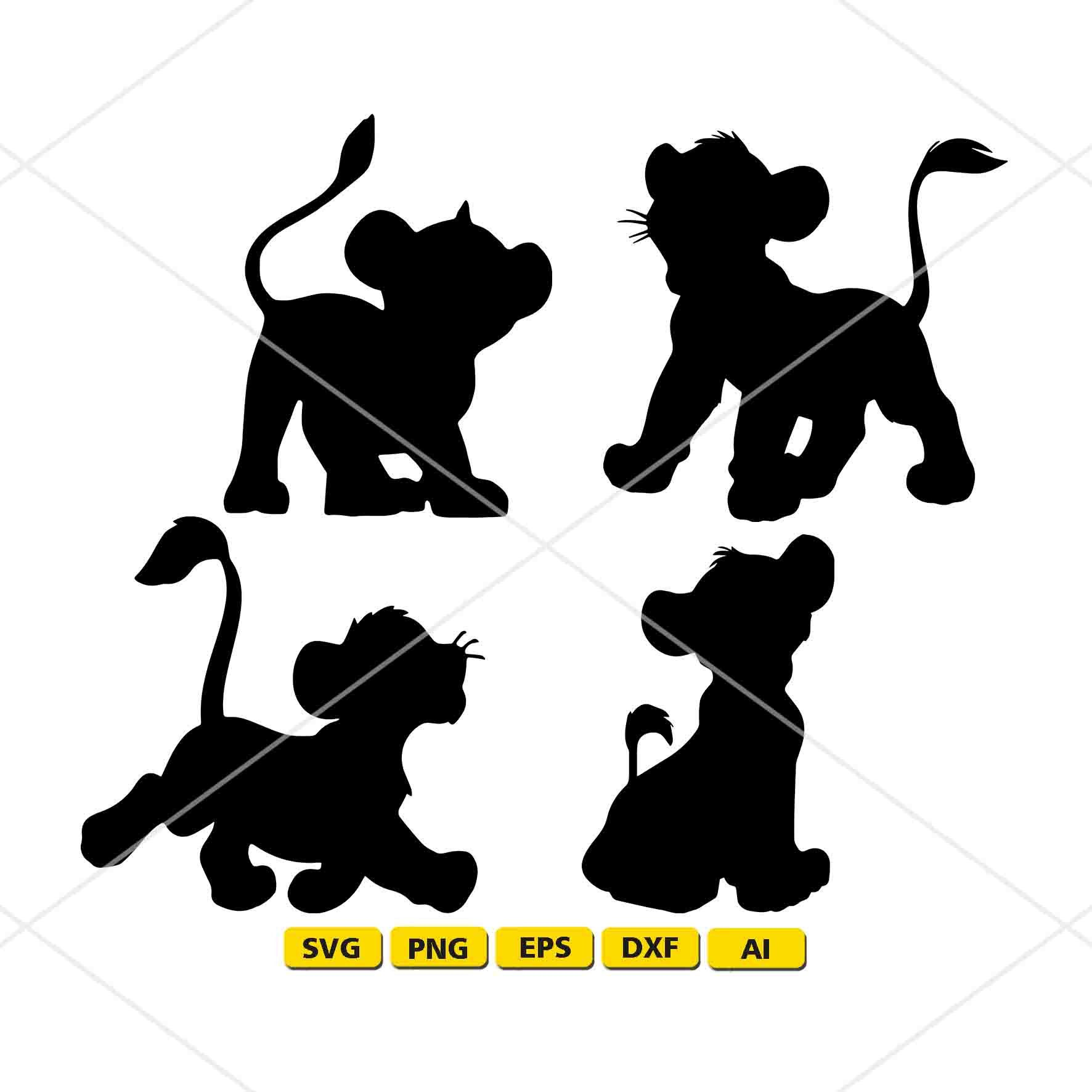 Simba Silhouette Lion King Instant Download Svg Png Dxf Format Simba Svg Simba Black Severine