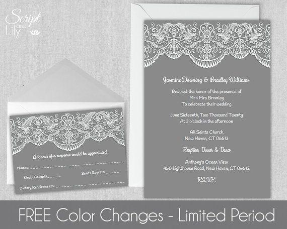 Lace Wedding Invitation Template FREE Response Card INSTANT - pages invitation templates free