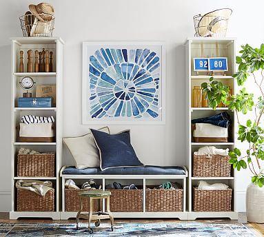 Samantha 3 Piece Bench Amp Bookcase Entryway Set Antique White Foyer Decorating Modular Cabinets Decor