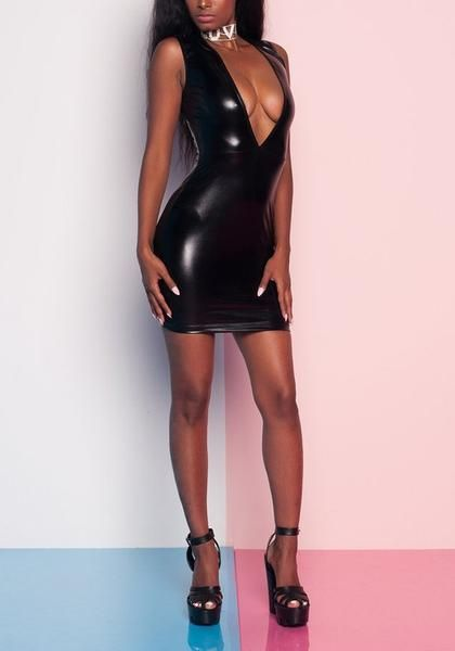 4be87bb6852 Black Zipper PU Leather Deep V-neck Sparkly Bodycon Clubwear Mini Dress