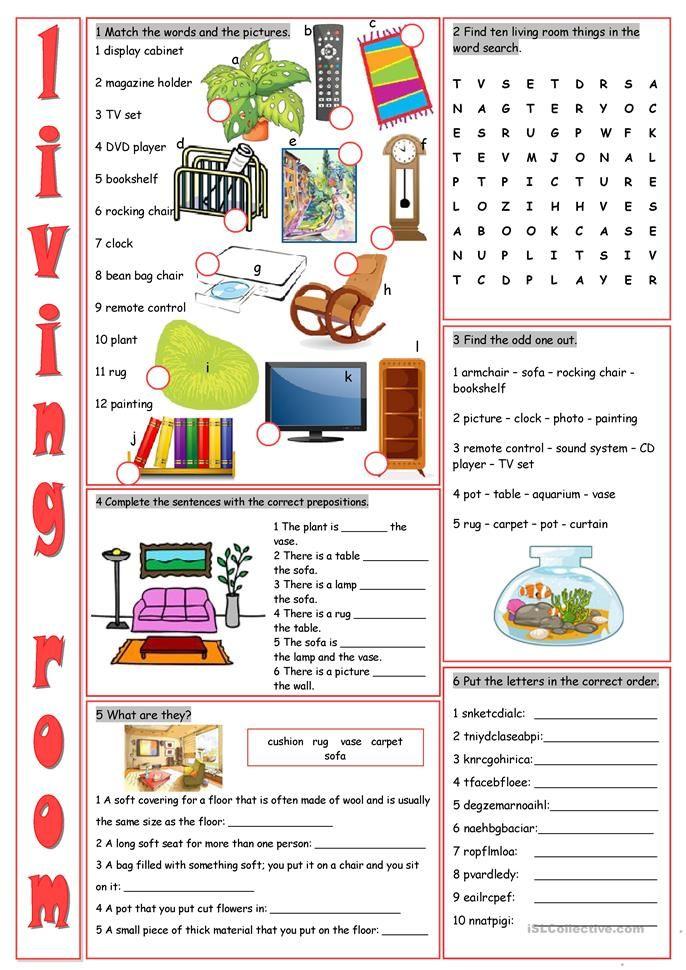 Living Room Vocabulary Exercises | English Classes | Pinterest ...