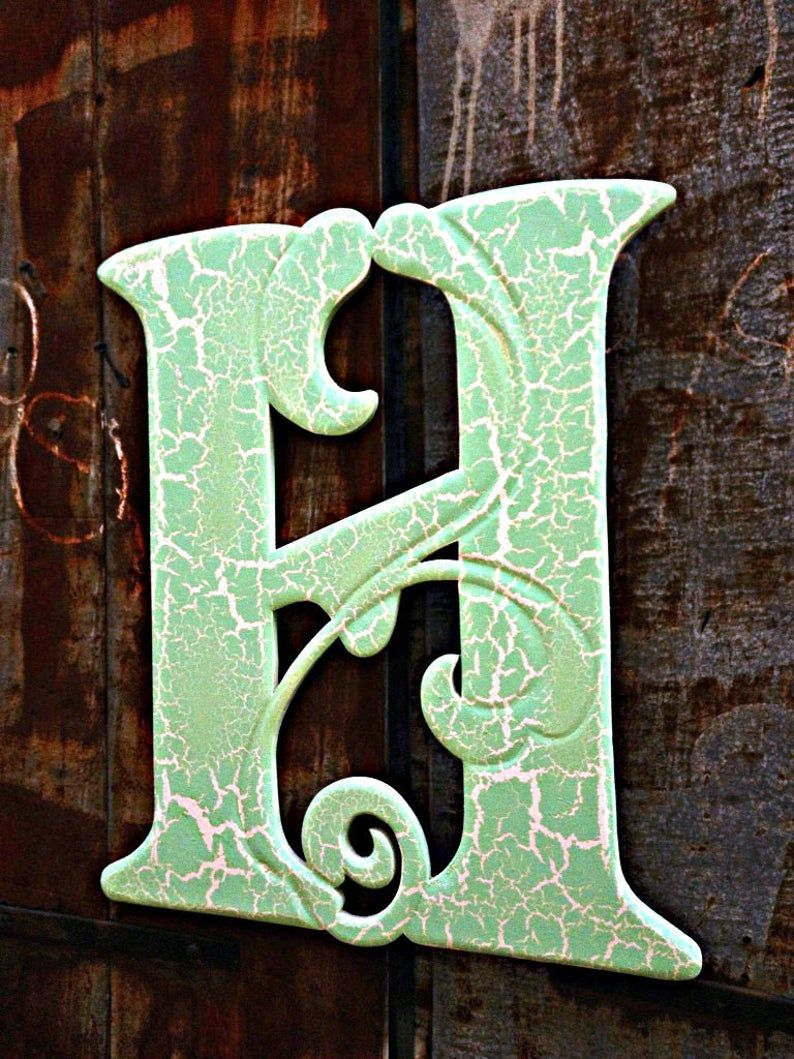 Photo of 269-Shabby Chic Wooden Door Hanger Letter H – Old World Font