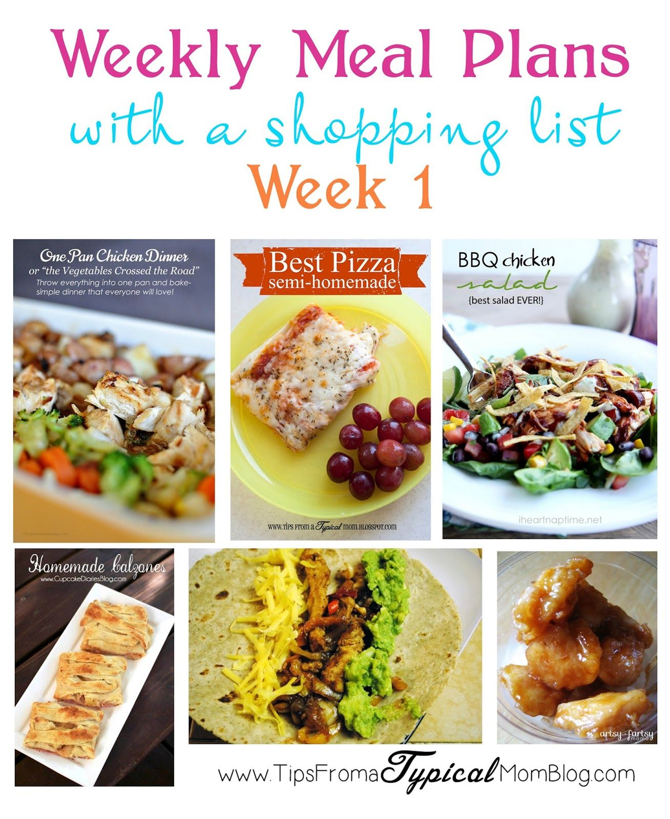Family Friendly Meal Planning done for you! Includes a shopping list! Week 1. Tips From a Typical Mom.