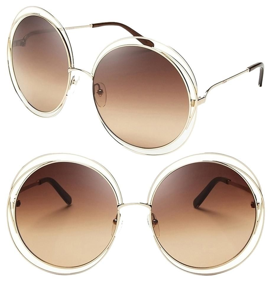 Rose Gold/Transparent Beige Shaded Chloe Carlina Round Wire-frame ...
