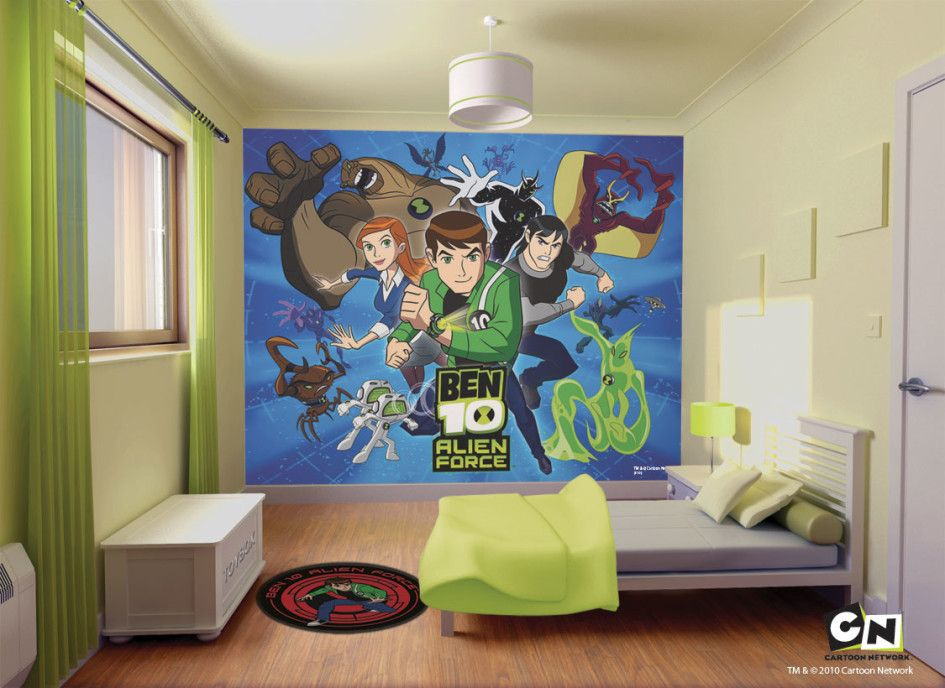 kids bedroom astounding ben alien mural wall decor designed for kids with single bed glass - Bedroom Designed