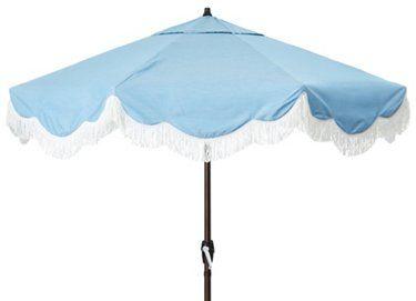 Cloud Fringe Patio Umbrella, Light Blue | One Kings Lane
