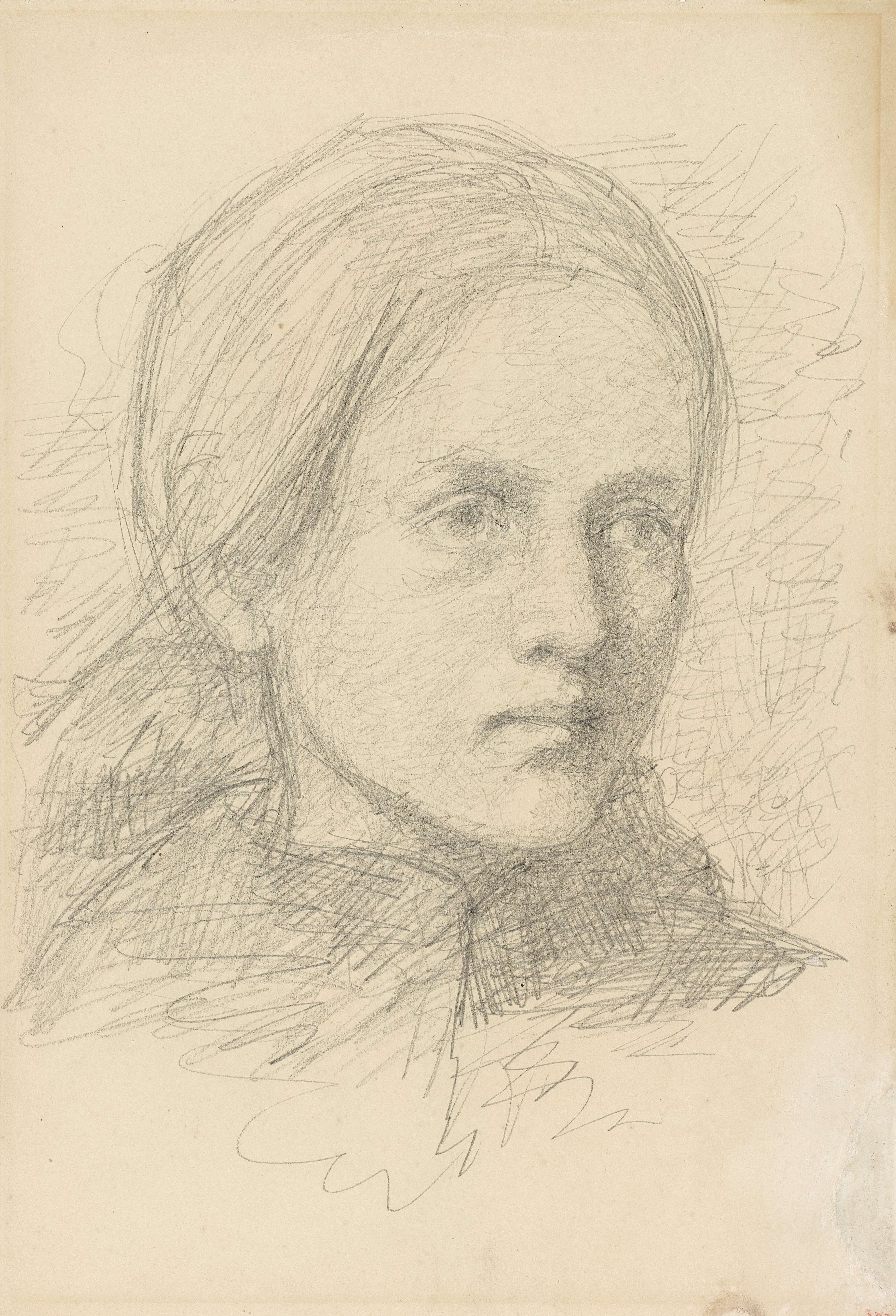 Jozef Israëls | Hoofd van een meisje, driekwart naar rechts, Jozef Israëls, 1834 - 1911 |