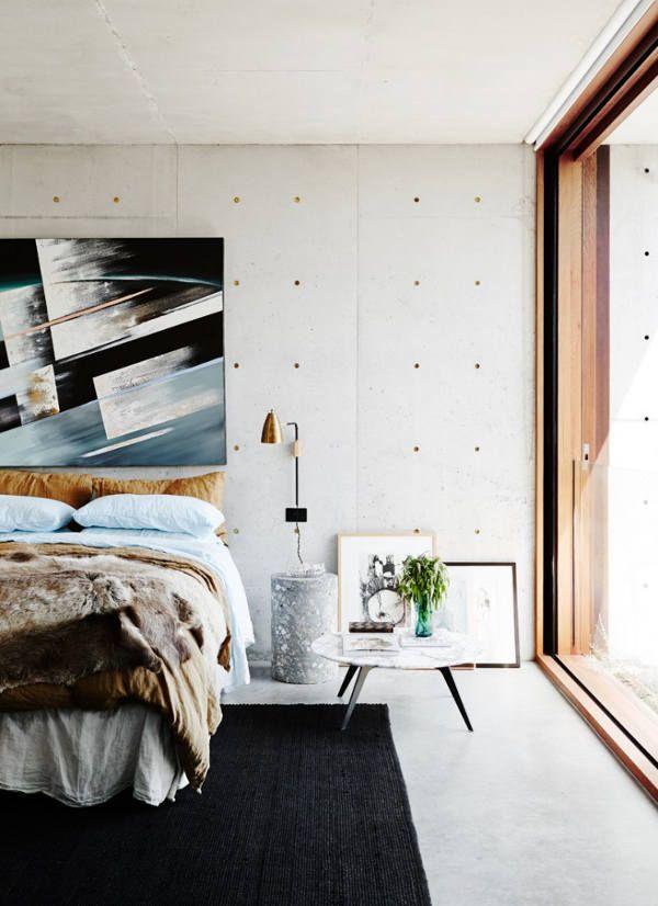 metal studded concrete home raw industrial bedroom - Concrete Bedroom 2016