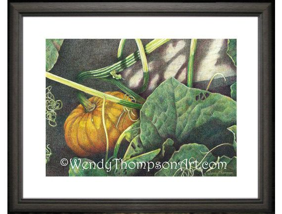 Pumpkin with vines Open edition print from by WendyThompsonArt