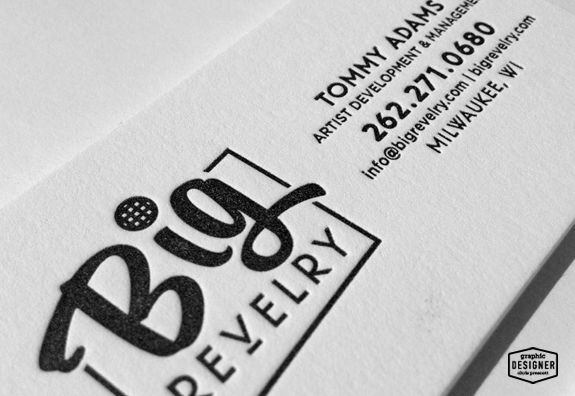 Big Revelry is a talent management / artist development company out of Milwaukee, Wisconsin. The business card is created utilizing letterpress and features a one color printed on 236 lb double-thick cotton cover. Sturdy. Beautiful. Rockstar. cprescott.com