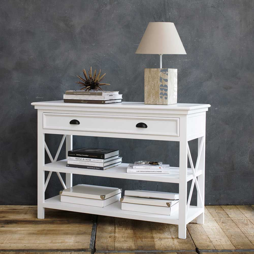 table console en pin blanc l 120 cm maison du monde deco cocooning et le monde. Black Bedroom Furniture Sets. Home Design Ideas