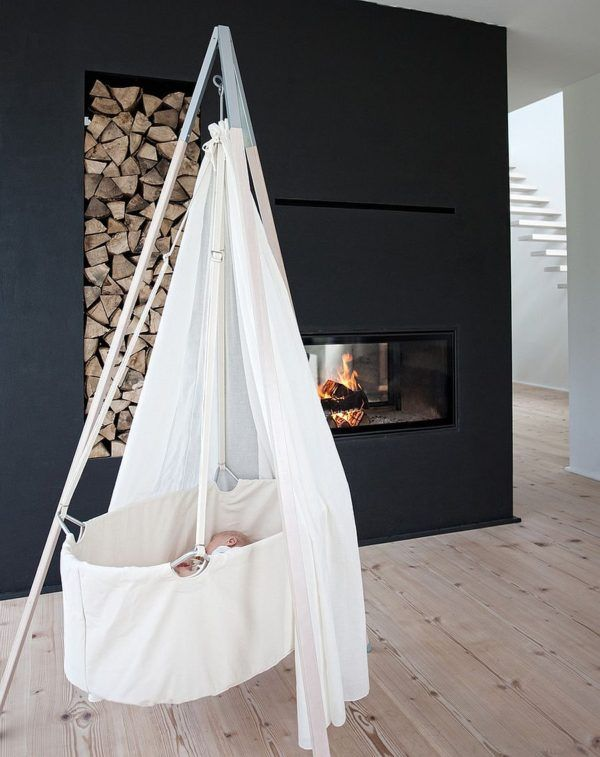 Minimal Scandinavian Nursery Design Idea With Fireplace Modern Baby Room Baby Cradle Baby Bassinet