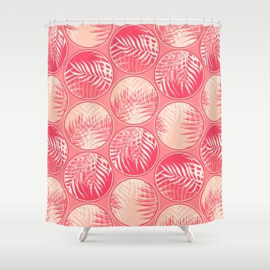 Feminine Homeoffice Desk: Pink Tropical Coins #society6 #decor #buyart Shower Curtain