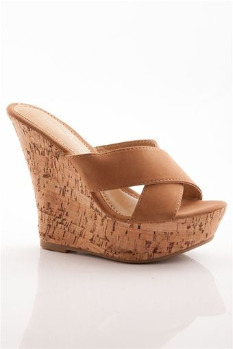 e4a3b7837e Give Them the Slip Slip On Platform Cork Wedge Sandals - Cognac from  Fashion Focus at Lucky 21