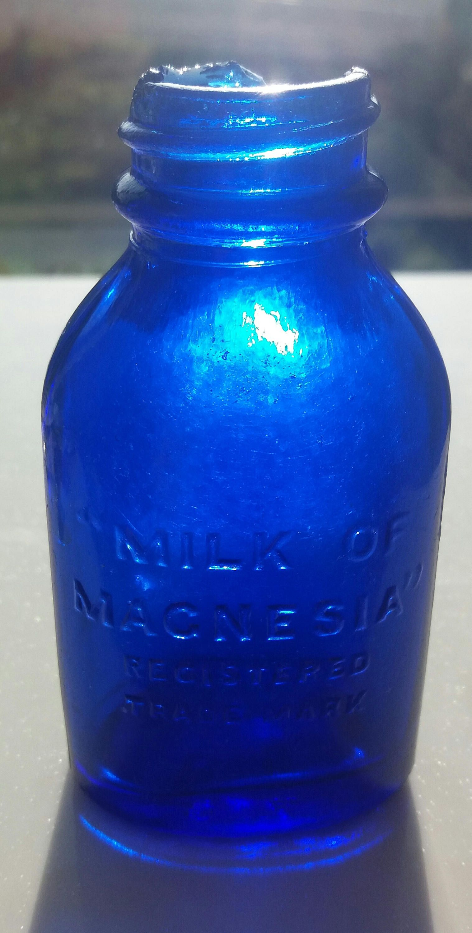 Milk Of Magnesium Cobalt Blue Medicine Sea Glass Bottle By
