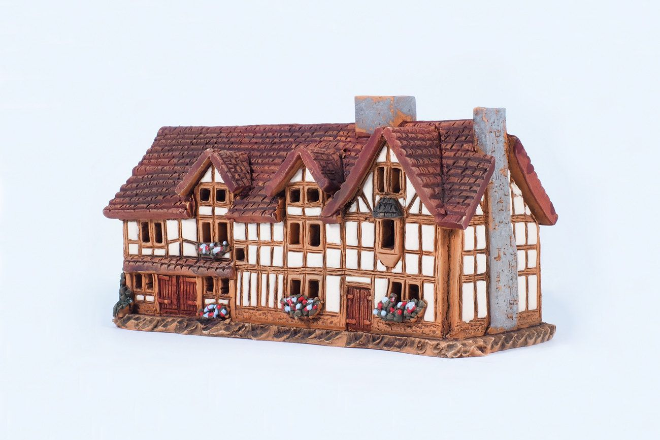 Ceramic incense burner - miniature version of W. Shakespeare's birth house. Handmade by Midene (R233) by MideneDesignStudio on Etsy