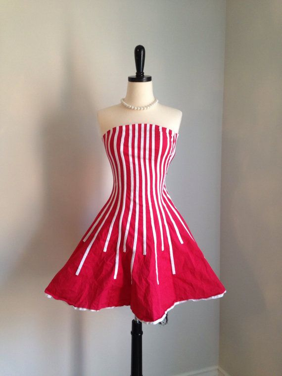 80s red and white striped mini dress circus cheerleader party prom ...