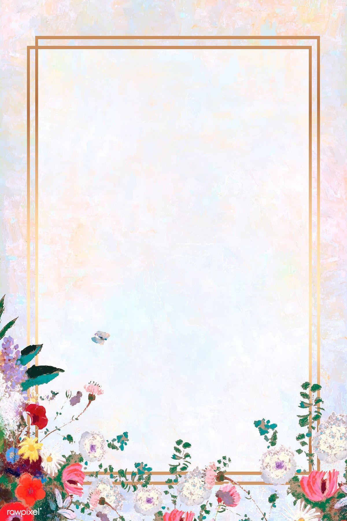 Download Premium Vector Of Rectangle Gold Frame On Pastel Background Pastel Background Flower Background Wallpaper Iphone Wallpaper Vintage