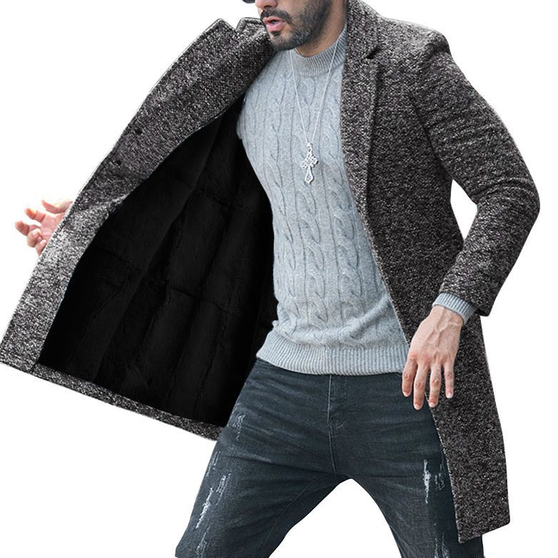 6c4819e1f254 Hot-sale designerMen Single-breasted Casual Woolen Coat Winter Thicken Warm  Overcoat Online - NewChic
