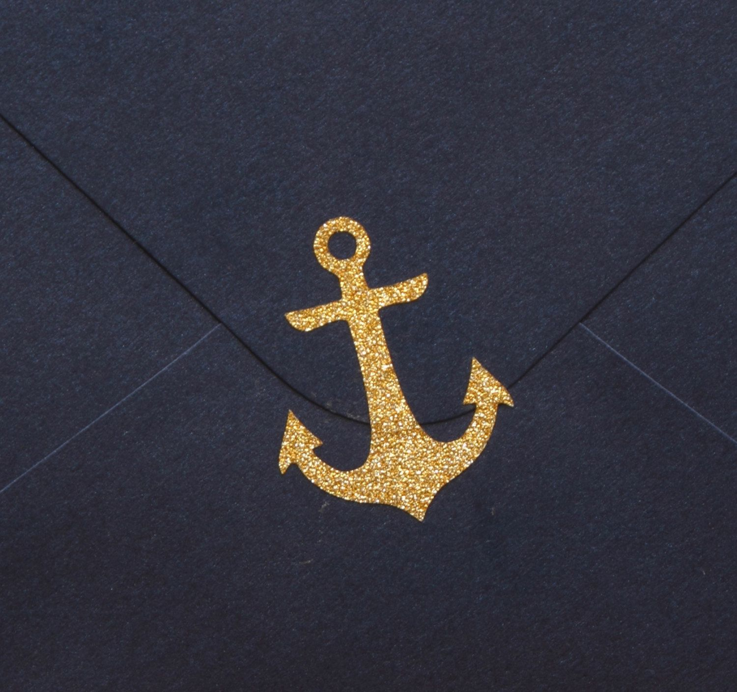 25 Small Gold Glitter Anchor Stickers, Vinyl Anchors
