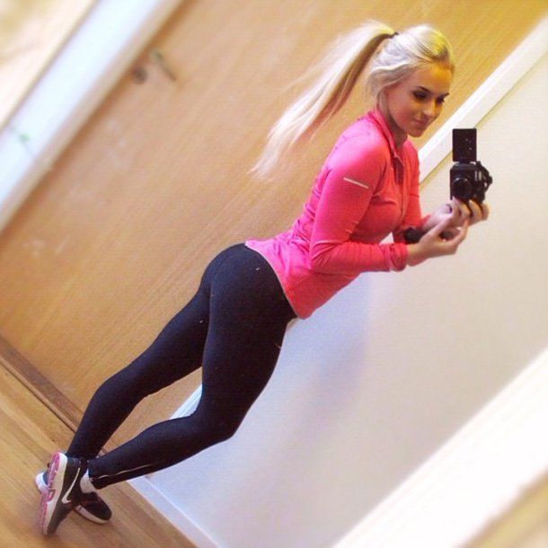 Hot teen blonde working out agree